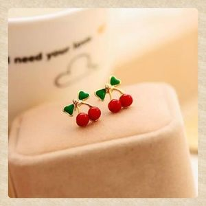 Cherry & Stem Dainty Studs